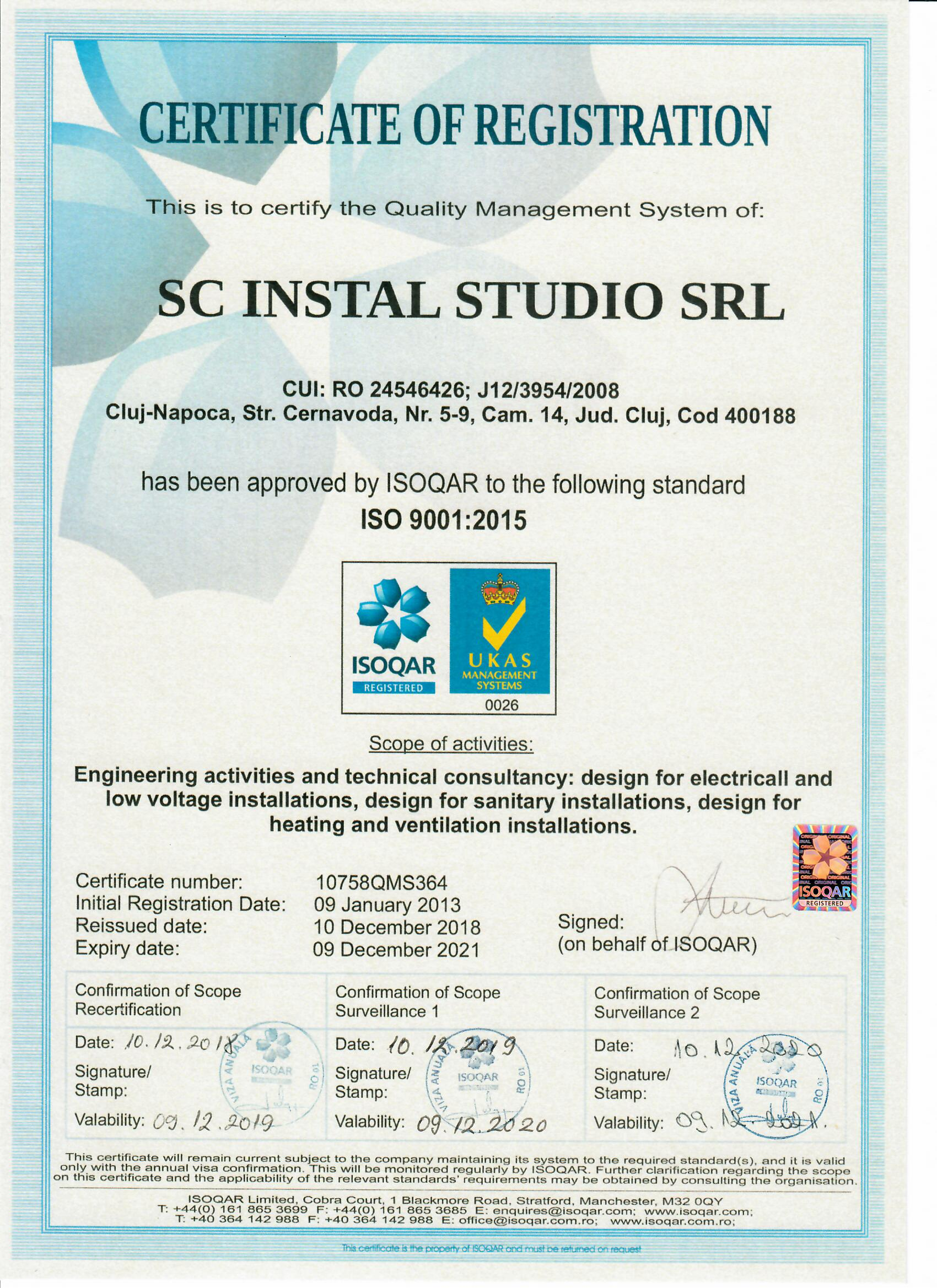 Certificate for the Quality Management System